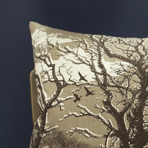 TREES CUSHION - NATURAL/CHOCOLATE LINEN UNION