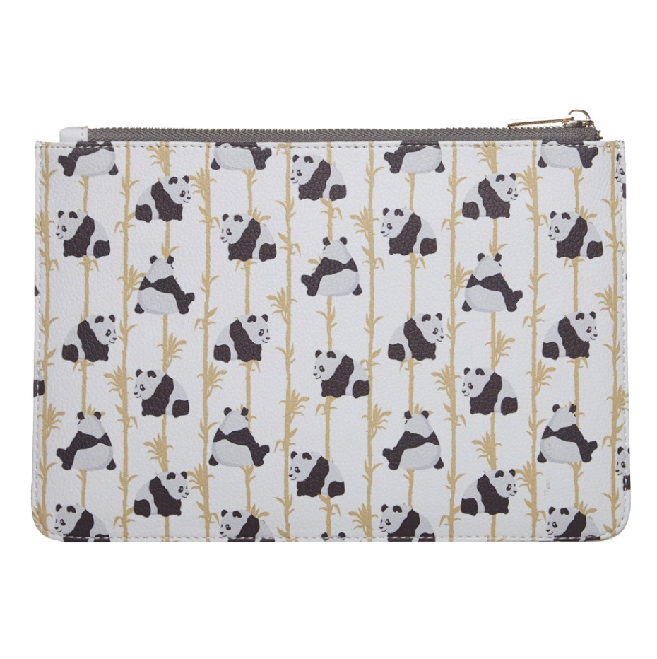 DESIGNER PANDA VEGAN LEATHER CLUTCH BAG