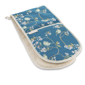 BLUE TIT ON BLOSSOM - DOUBLE OVEN GLOVES (NAVY BLUE)
