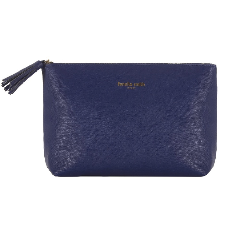 DESIGNER NAVY BLUE VEGAN LEATHER WASHBAG