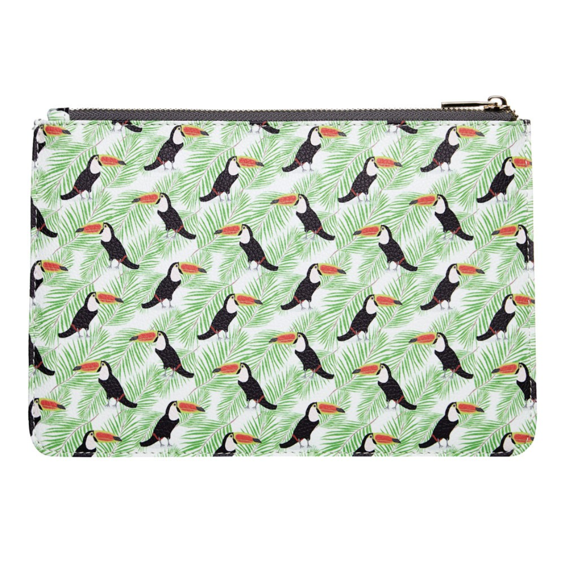 DESIGNER TOUCAN & PALM CLUTCH BAG