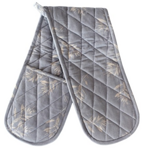 OLIVE GROVE DOUBLE OVEN GLOVE - BLUE GREY