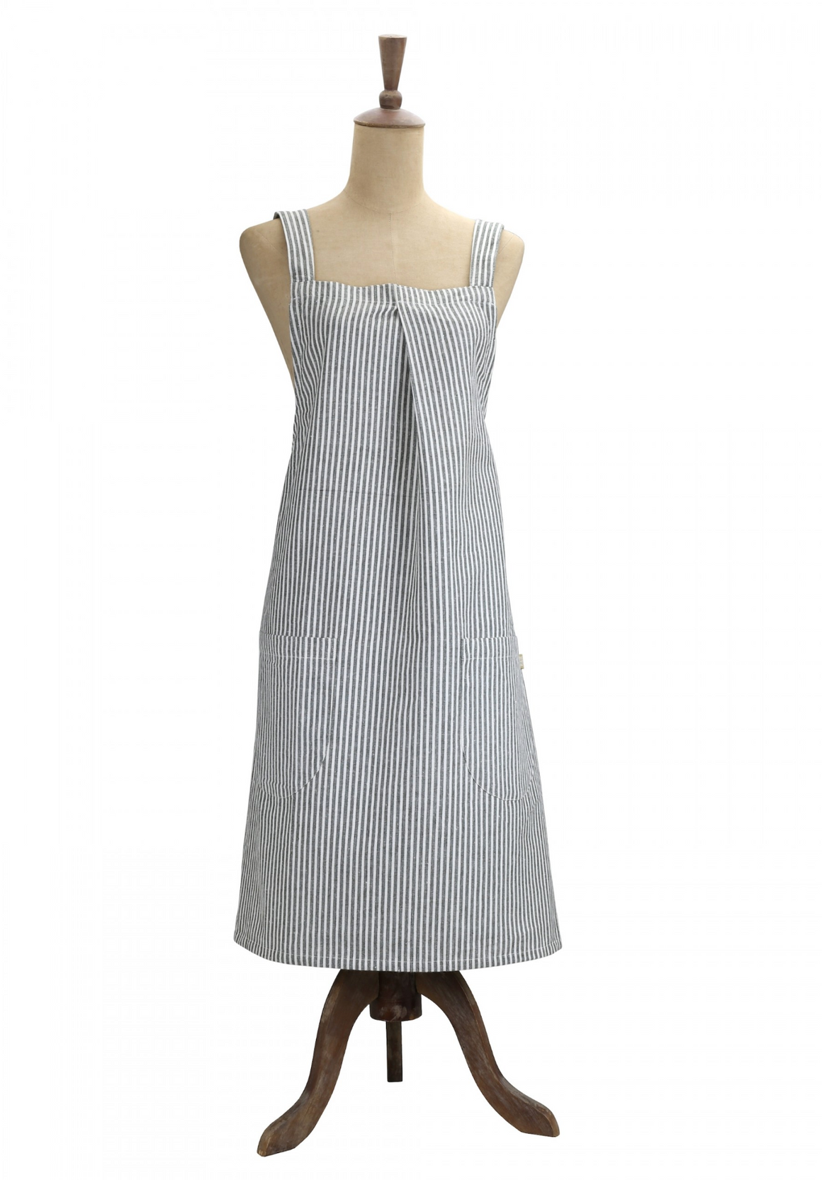 ABBY STRIPE APRON - OLIVE GREEN
