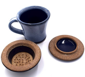 CHAI TEA & STRAINER SET - ENAMEL BLUE