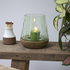 TAMPERED ETCHED GLASS HURRICANE LAMP - OLIVE