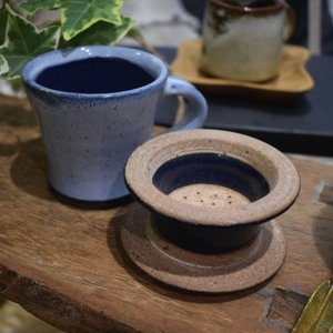 CHAI CUP & STRAINER SET - ENAMEL BLUE