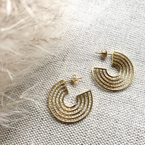 GOLD TRIPLE CIRCLE HOOPS