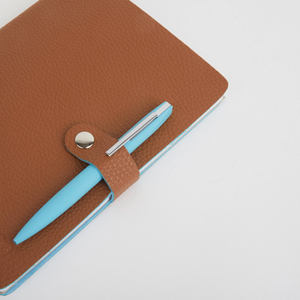 NICOBAR NOTEBOOK & PEN SET - TAN/BLUE