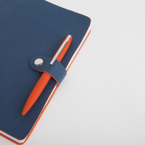 NICOBAR NOTEBOOK & PEN SET - NAVY/ORANGE