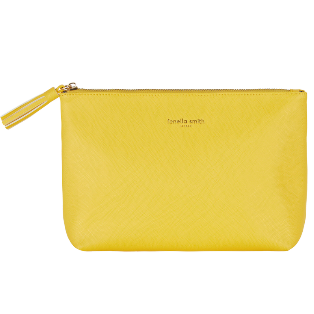 YELLOW VEGAN LEATHER WASHBAG