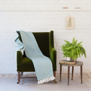 TEAL/WHITE ECO-FRIENDLY BLANKET