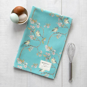 BLUE TIT ON BLOSSOM - TEA TOWEL (TURQUOISE)