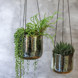 VIRI HANGING VASE/PLANTER - EMERALD