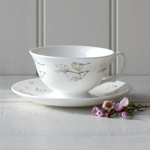 BLUE TIT ON BLOSSOM - CUP & SAUCER