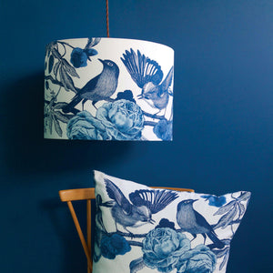 INK BLUE GARDEN BIRDS - SILK INSIDE OUT LAMPSHADES