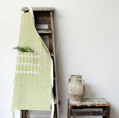 GREEN LEAF LINEN APRON