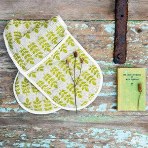 GREEN LEAF LINEN OVEN GLOVES
