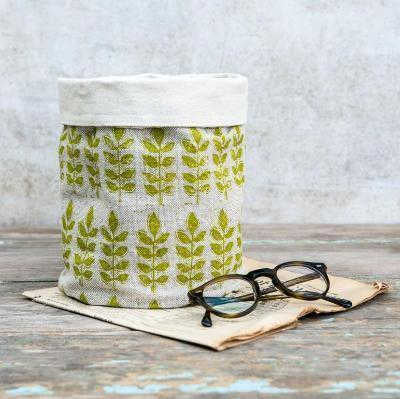 GREEN LEAF LINEN POT BAG