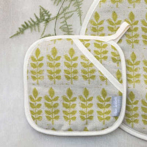 GREEN LEAF LINEN POT GRAB