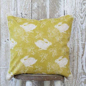 HEADLONG HARE YELLOW OCHRE COTTON CUSHION
