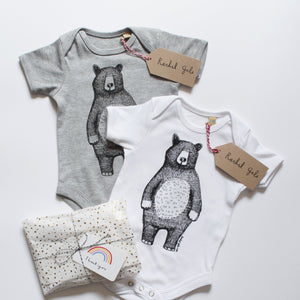 MR BEAR - BABY GROW - GREY