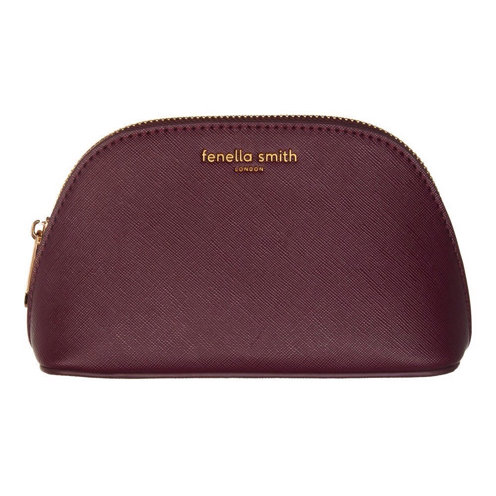 BURGUNDY VEGAN LEATHER OYSTER COSMETIC CASE