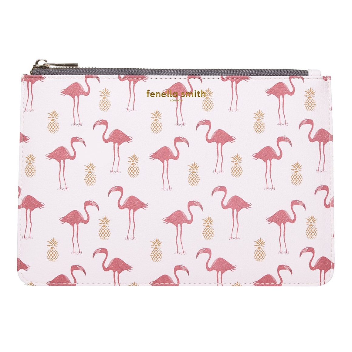 FLAMINGO & PINEAPPLE VEGAN LEATHER CLUTCH BAG