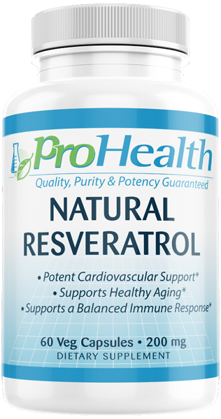 Natural Resveratrol 200 Mg 60 Vcaps By Prohealth Prohealth Com