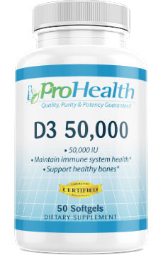 Vitamin D3 50 000 Iu 50 Softgels By Prohealth