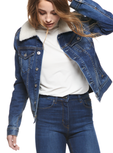 Denim fleece-lined women's jacket