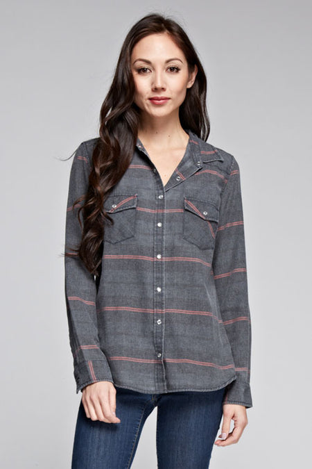 Stripe Asymmetrical Hem Button-up