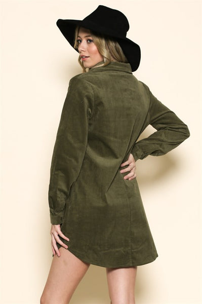 Olive Corduroy Shirtdress