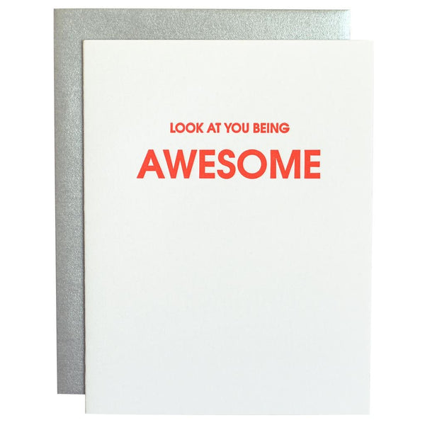 Letterpress Card Look at You Being Awesome
