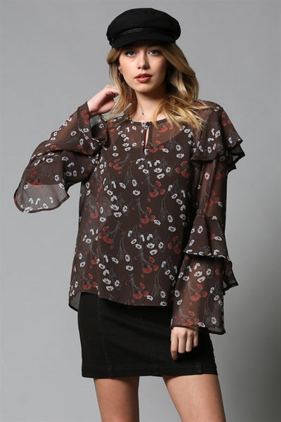 Tiered Sleeve Sheer Top