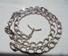 "Unisex Monet 34"" Silver Tone Link Chain Unique Toggle Clasp"