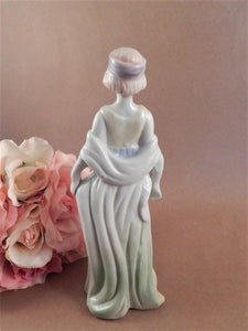 Woman Figurine Art Deco Roaring 20s Flapper Fashion Hand Painted Porcelain Statuette Vintage 1940s Home Decor