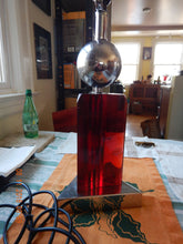 "Mid Century Red Lucite lamp 1960""s"
