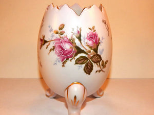 Porcelain Egg Vase Vintage 1950s Napco Moriage Gilded Transferware Footed Pink Floral Mid-Century Collectible Home Decor