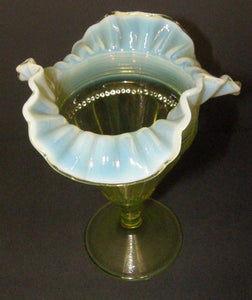 Jefferson Fluted Bars and Beads Green Opalescent Footed Vase.