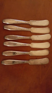 1847 ROGERS BROS 6 SILVER PLATE BUTTER KNIVES