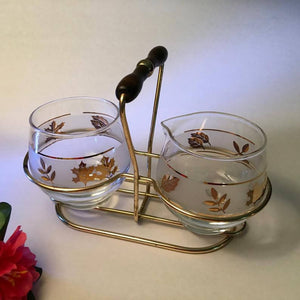VINTAGE SUGAR AND CREAMER SET WITH CADDY