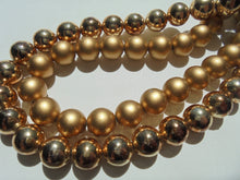 "16"" Vintage Double Strand Gold Matte & Gloss Beads Japan Tab Insert Clasp Nice!"