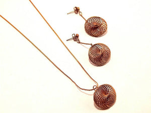 Mandala Spiral Pendant Necklace and Drop Down Dangle Post Earrings Set Vintge 1960s Made in Korea