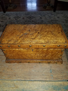 19th Century Bird's eye maple document box with brass tacks