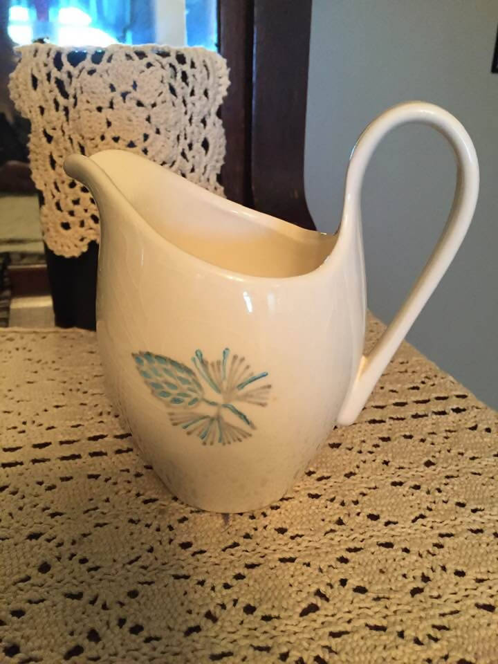 VINTAGE USA CREAM PITCHER WITH PINECONE