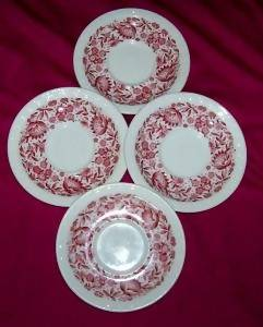Syracuse China - Roxbury Red - 4 saucers