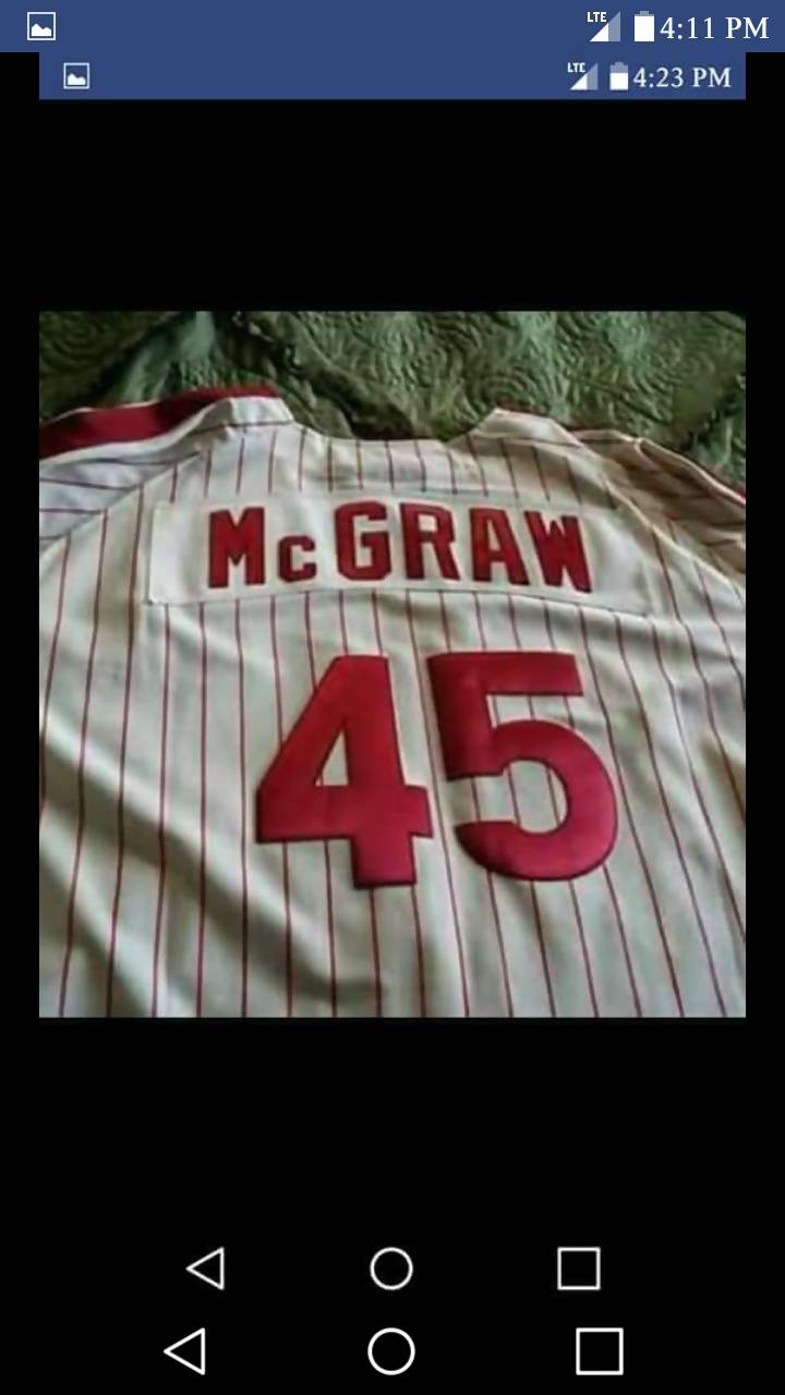 Vintage Tug McGraw Authentic Cooperstown Zip up Jersey
