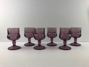 "12- AMETHYST KING'S CROWN THUMBPRINT 4.5"" JUICE GLASS INDIANA GLASSWARE"