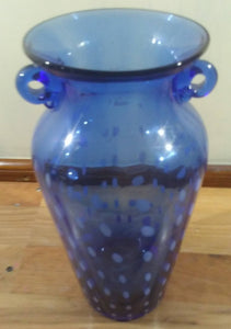 Large Blue Vintage 2 Handled Vase with Milky White Design