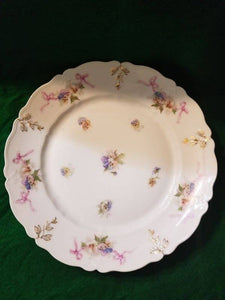 German C. Tielsch Atwasser Plate of Pink, Purple, Yellow Pansy Design